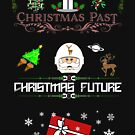 Christmas Past, Christmas Future, Christmas Present Funny Christmas Holiday Design with Astronaut Santa Claus, Gift and Victorian Tree by gallerytees