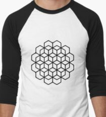 3D Cube Pattern Men's Baseball ¾ T-Shirt