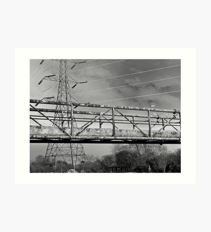 Pylon, urban Lanscape Canal. Solarised. Art Print