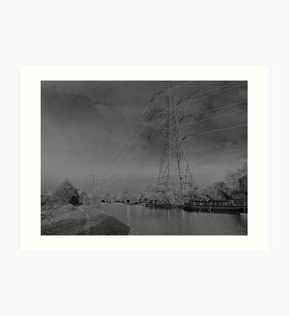 Pylon, on canal Urban  landscape  solarised. Art Print