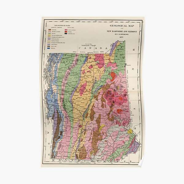 Vintage Map of New York From 1886 Photo Print Poster Gift State America USA