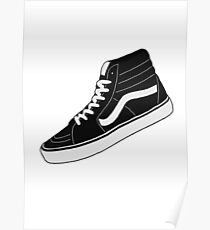 Vans High Top - Black and White Poster