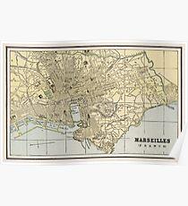 Vintage Map of Marseille France (1901) Poster