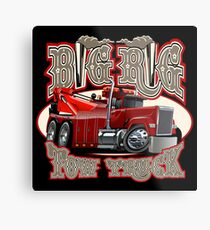 Cartoon big rig tow truck with vintage lettering poster Metal Print