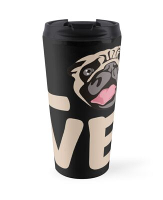'Love With Pug Face: Funny T-Shirt For Dog Lovers' Travel Mug by Dogvills