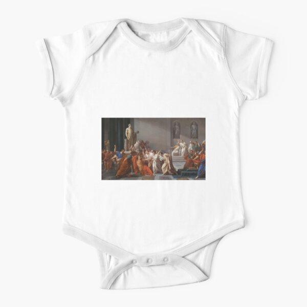 Et tu, Brute? Even you, Brutus? Death of Caesar by Vincenzo Camuccini #DeathofCaesar #Death #Caesar #VincenzoCamuccini #EtTuBrute #EvenYouBrutus Short Sleeve Baby One-Piece