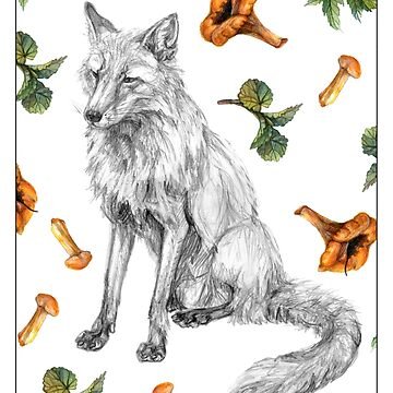 Fox with leaves and mushrooms by stasia-ch