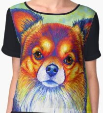 Colorful Long Haired Chihuahua Dog Chiffon Top