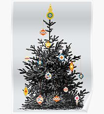 Christmas tree with retro ornaments Poster