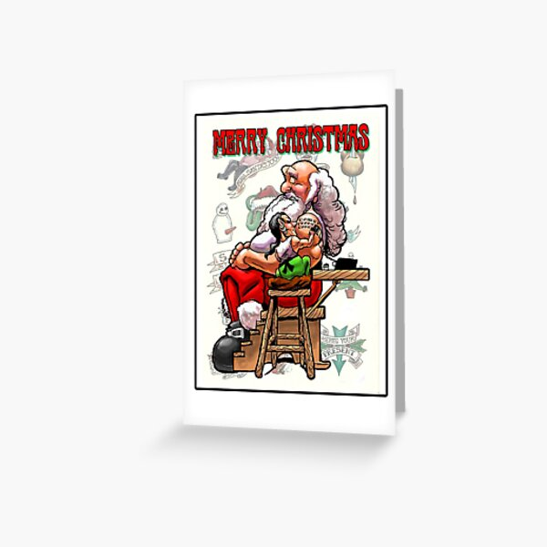Merry Christmas Tattoo Greeting Card