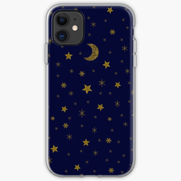 Sparkly stars, moon on blue sky iPhone Soft Case