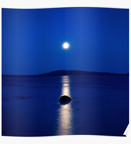 moon reflections on blue Poster