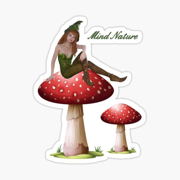 Elf with mushrooms Mind Nature  Sticker