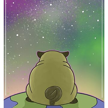Happy New Year - Pug contemplating the Universe by mimi111art