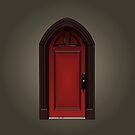 Red door of haunted house by Pendientera