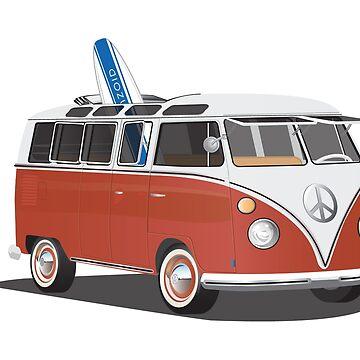 Hippie Split Window Surfer Van Red White & Surfboard Psychodelic by azoid
