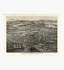Vintage Pictorial Map of Kingston NY (1875) Photographic Print