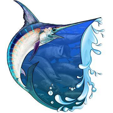 Marlin Many Fish Edge Splash Design by wrapgraphics