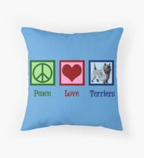 Peace Love Cairn Terriers Throw Pillow