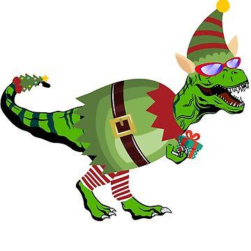 Dinosaur T Rex Wearing Elf Suit Christmas by LemoBoy