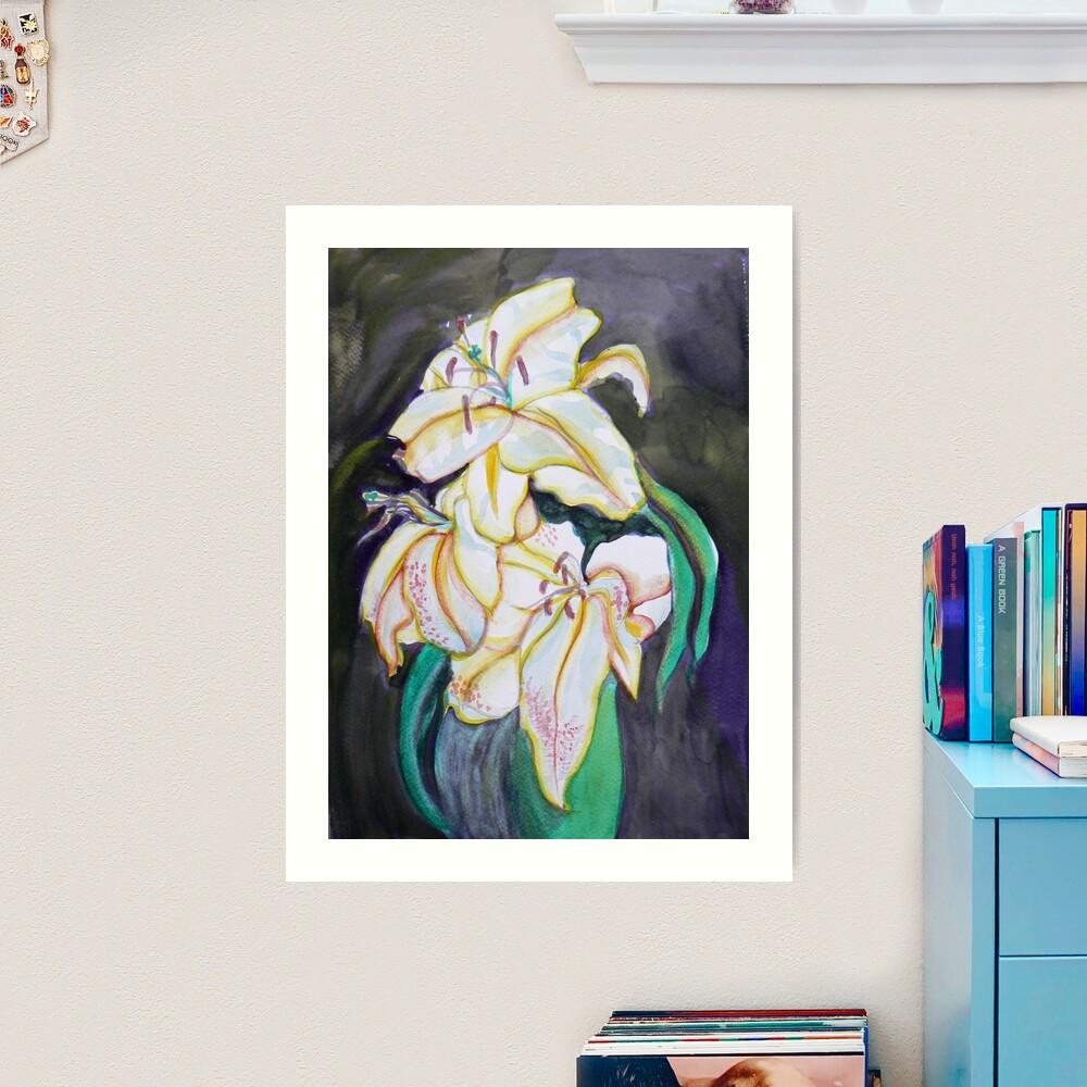White Lilies watercolor Art Print