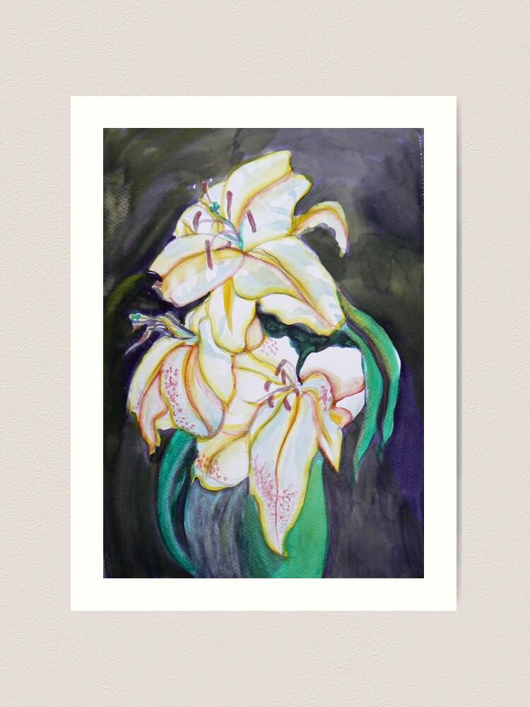 Alternate view of White Lilies watercolor Art Print