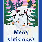 Fun Skating Penguins Christmas Card by Judy Adamson