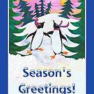 Fun Skating Penguins Season's Greetings by Judy Adamson