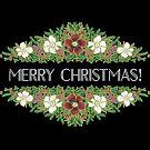 Christmas Roses Merry Christmas on Black by Judy Adamson