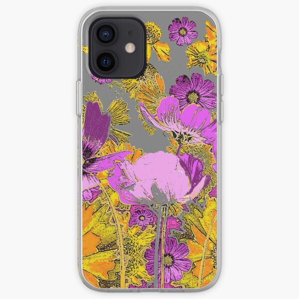 FLORAL DRAWING OF  LILAC COSMOS & COREOPSIS FLOWERS  iPhone Soft Case