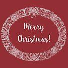 Christmas Wreath Card White on Deep Red by Judy Adamson