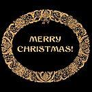 Chic Christmas Wreath Card Gold-effect on Black by Judy Adamson