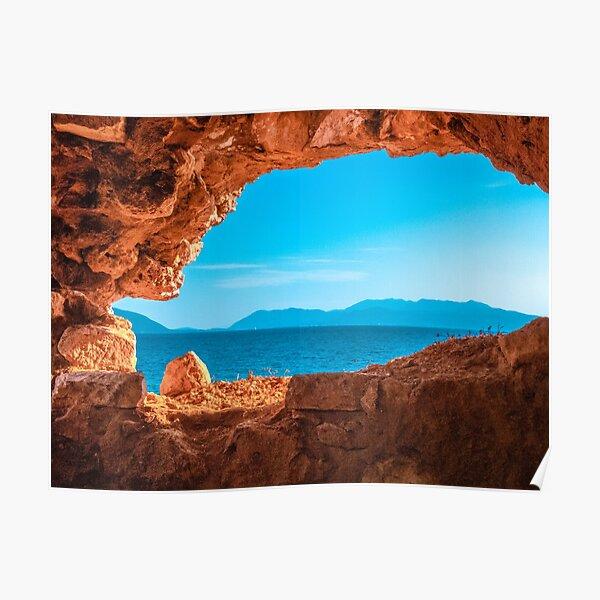 Lefkada island trough a cave, Greek Island and sea Poster