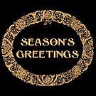 Christmas Wreath Season's Greetings Gold-effect on Black by Judy Adamson
