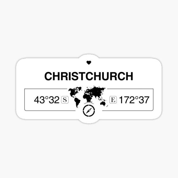 Christchurch Canterbury mit Weltkartenkoordinaten GPS und Kompass Sticker