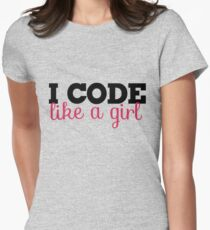 I CODE like a girl Women's Fitted T-Shirt