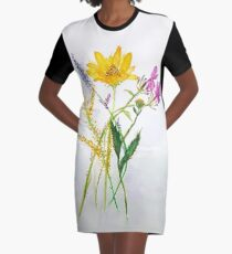SERIES JASMIN WATERCOLOR FLOWERS Graphic T-Shirt Dress
