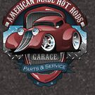 American Hot Rods Garage Vintage Car Sign Cartoon by hobrath