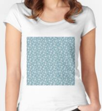 Christmas Icy Blue Velvet Snow Flakes Women's Fitted Scoop T-Shirt