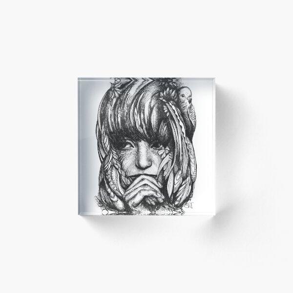 Adelina - portrait in ink Acrylic Block