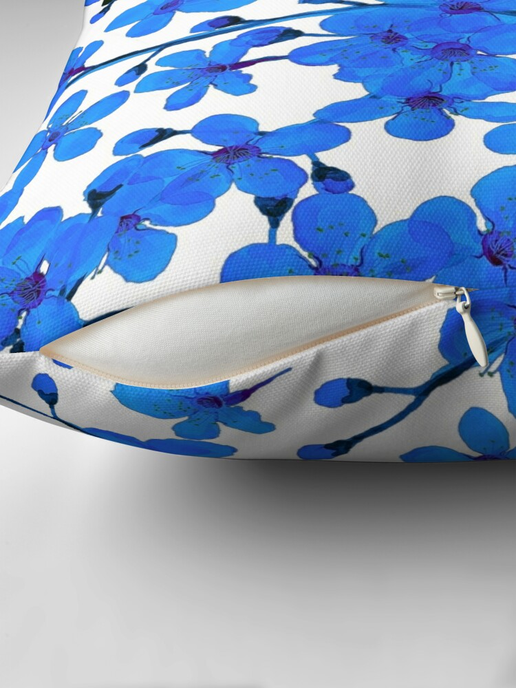 Alternate view of Cherry Blossom blue, Chinoiserie Throw Pillow
