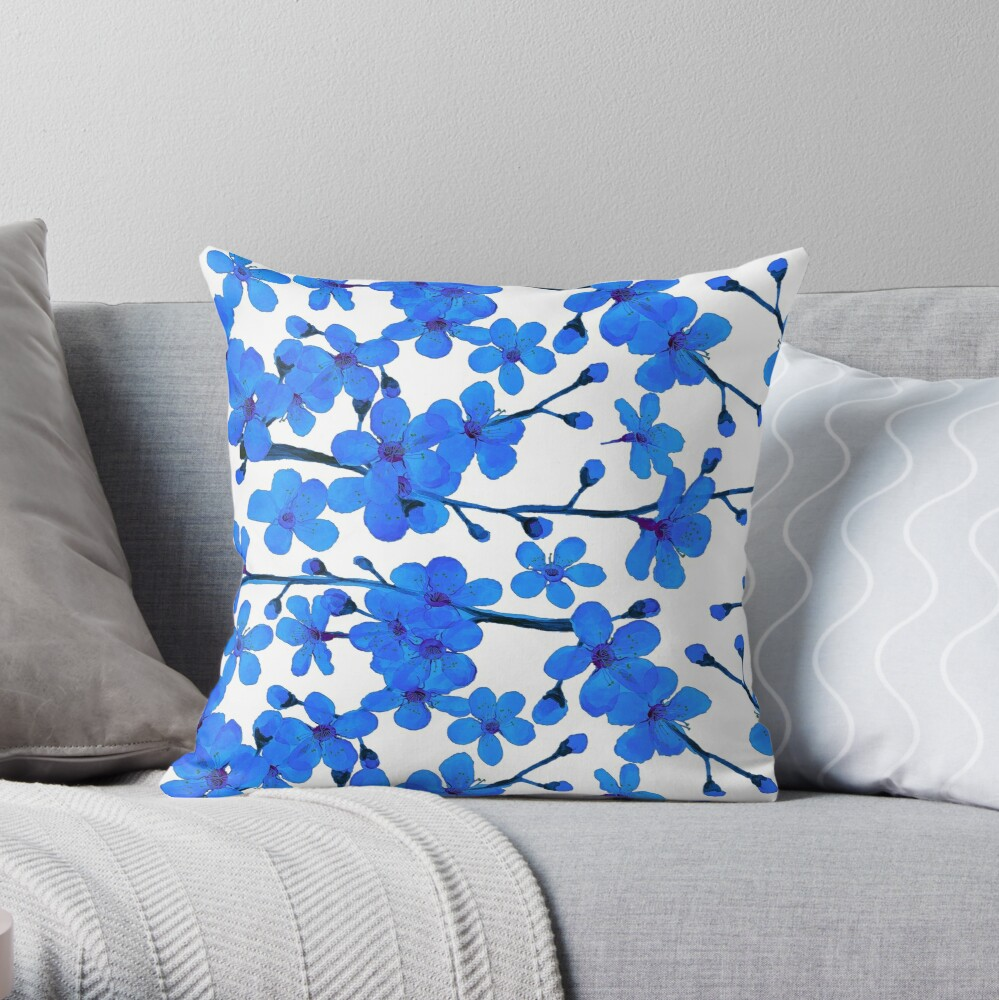 Cherry Blossom blue, Chinoiserie Throw Pillow