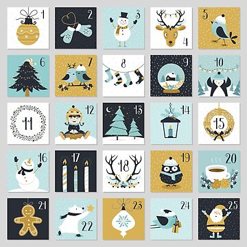 Christmas countdown with cute Christmas Symbols stamps pattern by artonwear