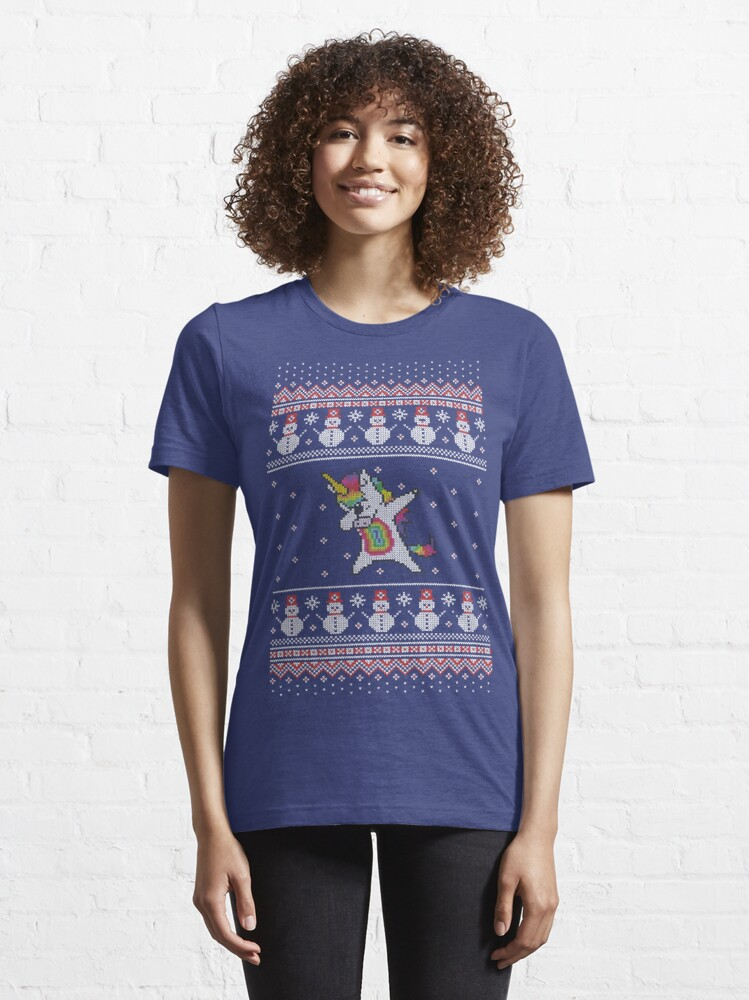 Vista alternativa de Camiseta esencial Unicorn celebrating for Christmas