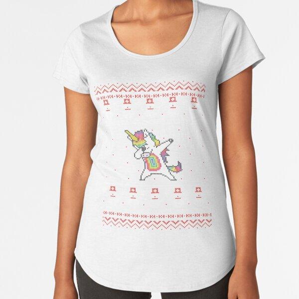 Unicorn celebrating for Christmas Camiseta premium de cuello ancho