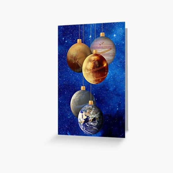 Planetarische Christbaumkugeln Grußkarte