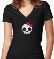 Pink Cute Lady Skull Women's Fitted V-Neck T-Shirt