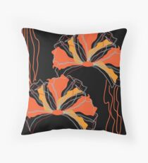 Abstract Black Orange Red Poppy Floral Throw Pillow