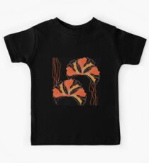 Abstract Black Orange Red Poppy Floral Kids Tee