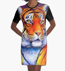 Colorful Bengal Tiger Graphic T-Shirt Dress